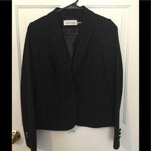 Calvin Klein pinstripe black cropped short profile